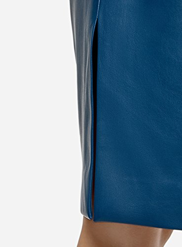 oodji Collection Donna Gonna a Tubino in Ecopelle Blu (7901N)