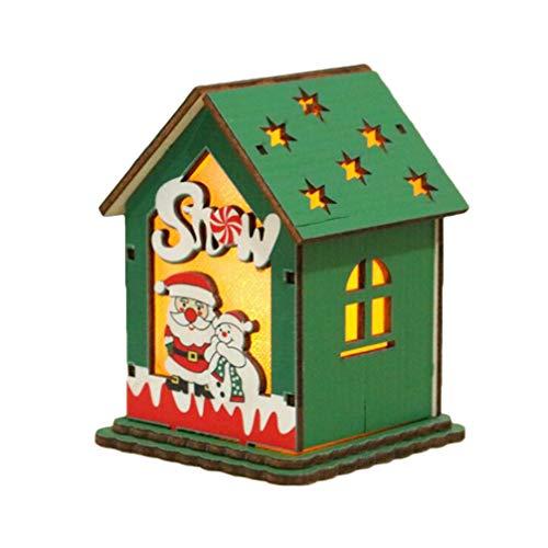 Amosfun weihnachtsschmuck led holzhaus Weihnachtsbaum hängen Dekoration Figur für Urlaub Party mit knopfbatterie (schneemann Oldman Stil) -