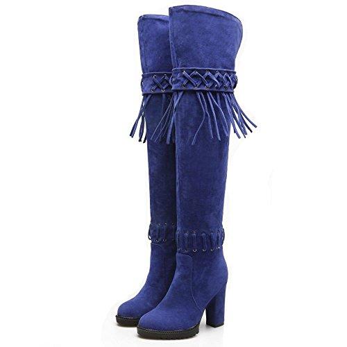 TAOFFEN Damen Herbst Winter Lange Stiefel Blockabsatz Stiefel Blau