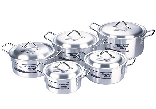 "ALUMINIUM 10PC KITCHEN COOKING PAN SAUCEPAN POT SET WITH LID COOKWARE CASSEROLE STOCK SET 7""-8""-9""-10""-11"""