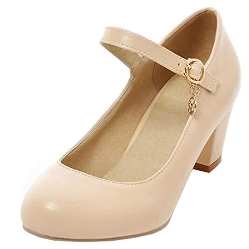 UH Damen High Heels Mary Jane Pumps mit Blockabsatz und Riemchen 6cm Absatz Kleid Schuhe (Heels Schuhe Mary Jane High)
