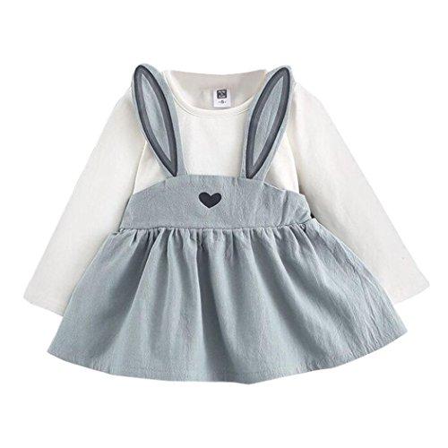 LCLrute Lovely 0-3 Jahre alten Herbst Baby Kinder Kleinkind Mädchen niedlichen Kaninchen Bandage Anzug Mini Kleid (90)