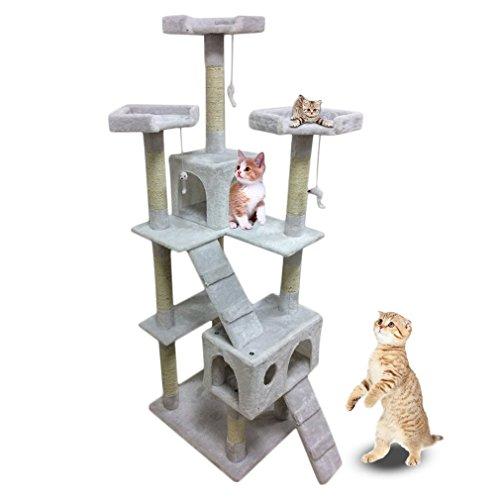 Homgrace Árbol para Gato con Rascador, 2 Casetas con Recubrimiento de Felpa para Que los Gatos para Relajarse, Jugar y Descansar Color Blanco Lechoso