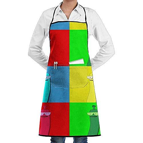 Pop Frau Art Kostüm - UQ Galaxy Grillschürze,Pop Art Wurst Cartoon Schürze Spitze Unisex Chef Einstellbare Lange Voll Schwarz Kochen Küchenschürzen Lätzchen Mit Taschen für Restaurant Backen BBQ