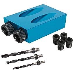 Lot de 14 pièces avec trou de poche, goujon et forets avec colliers, 6 8 trous de 10 mm, guides, outil de menuiserie, localisateur de menuiserie, bleu