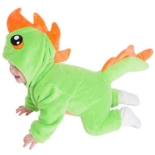 corimori 1850 Byte der Dinosaurier Baby Neugeborenen Onesie Jumpsuit Strampler Anzug Kostüm Verkleidung (70-90 cm), Grün (Kleine Dinosaurier Kostüm)