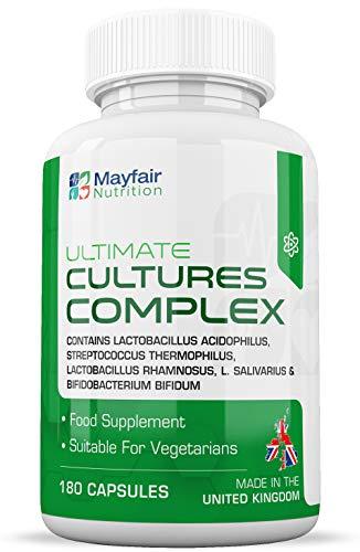 Complejo de Culturas | 180 comprimidos fuente de 10 mil millones de CFU 180 | Lactobacillus y Acidophilus | Sin modificación genética ni gluten | 6 meses de uso | Hecho en el Reino Unido por Mayfair Nutrition