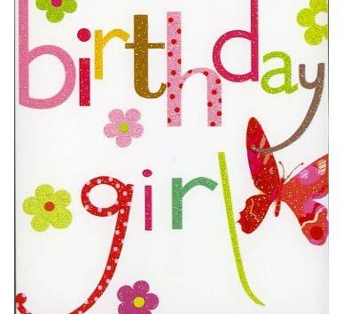 2 für 1 Angebot !!! Geburtstag Girl, Butterfly and Flowers, Grußkarte (1. Butterfly Geburtstag)