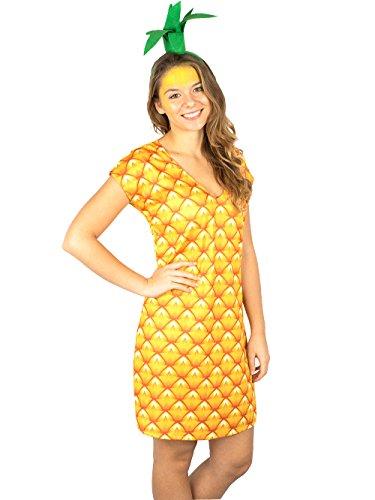 Ananas Kleid mit Haarreif exklusiv Kostüm Goldschmidt Kostüme (36/38) (Ananas Kleid)