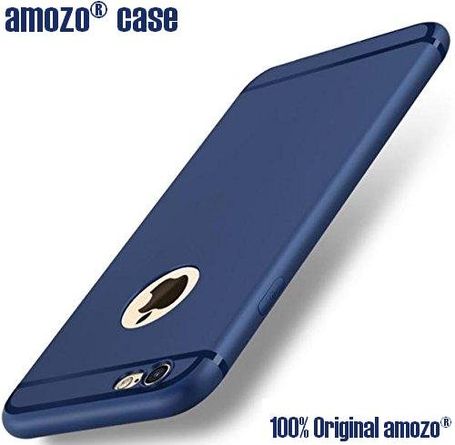 Amozoâ® Soft Silicone With Anti Dust Plugs Shockproof Slim Back Cover Case For Apple Iphone 6/6S - Dark Blue