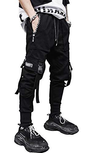 Pantaloni Cargo Uomo,Momoxi Pantaloni Tasca Lunghi Estivi Uomo Cargo con Coulisse Tasche Laterali Trousers della di Hip Hop Adolescenti e Giovani Ragazzi