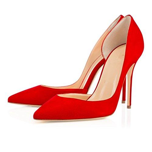 EDEFS Damen Zwei Stücke Pumps Spitze Zehen Stiletto D'Orsay Pumps für Büro-Dame Hochzeit Rot