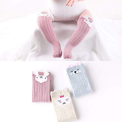 e Baby Kniehohe Lange Röhre Socken Solid Karikatur Baumwoll socken Baby Tube Socken Dicke Warm Jungen Mädchen Neugeborene Baby Weihnachten socken(3 Paar) ()