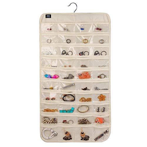 Haludock Beige 80 Taschen klar hängende Tasche Socken BH Unterwäsche Rack Kleiderbügel Speicherorganisator für Haus, Schlafzimmer, Wohnzimmer, Bad, Küche