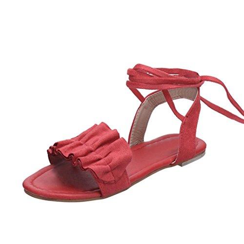Sandalen Damen Kolylong® Frauen Elegant Flach Sandalen Lace Up Bohemia Offene Sandalen Retro Riemchensandalen Römersandalen Sommer Strandschuhe Hausschuhe Outdoor Schuhe Flip Flops (Rot, CN:39) -