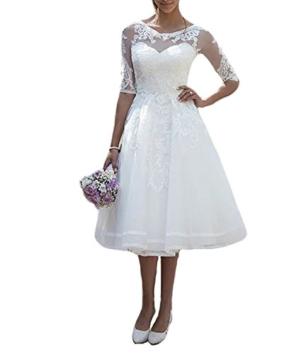 Carnivalprom Damen Spitze Hochzeitskleid Brautkleid mit Ärmeln Sheer Rundhals - Brautkleider ärmeln