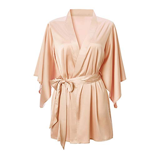 DISCOUNTL Nachthemd für Damen mit Spitze, Morgenmantel, Schlafanzug, Nachthemd, Nachthemd, Bademäntel für Frauen Gr. Large, Fortschrittliches Pulver