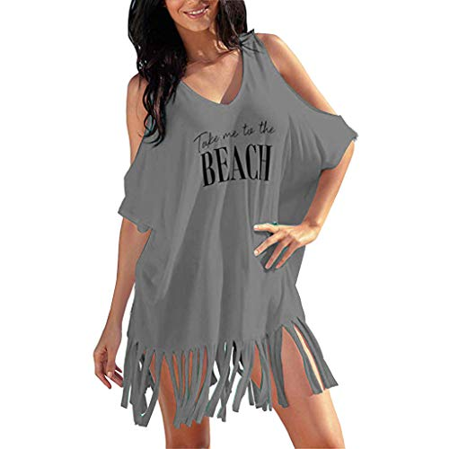 uizz-yu Kleider Damen Sommer Sexy Kalte Schulter Buchstaben Print Quaste Strandkleid Baggy Bademode Bikini Cover-UPS Knielang WeißE MäDchen Kleider Festlich