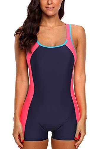 92d26b0ecbaef Vegatos Damen Badeanzug Mit Bein Racerback Einteiliger Bademode Sportlich  Schwimmanzug Figurformend Navy Rose XS
