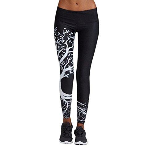 Oyedens Pantaloni Yoga, Donne Stampate Sport Yoga Moda Pantaloni Allenamento Palestra Athletic Fitness Esercizio Leggings Atletico Pantaloni Tuta Donna Pilates Loose Fit Jogging Sportivi (S, Nero)
