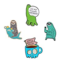 Cute Enamel Lapel Pins Sets Cartoon Animal Plant Fruits Foods Brooches Pin Badges for Clothing Bags Backpacks Jackets Hat DIY (Dinosaur shark sloth coffee cup Set of 4)