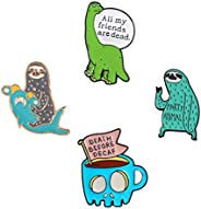 Cute Enamel Lapel Pins Sets Cartoon Animal Plant Fruits Foods Brooches Pin Badges for Clothing Bags Backpacks