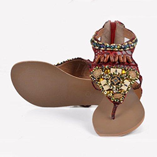 NiSeng Femmes Plage Chaussures Bohemian Strass Sandales Plat T- Strap Clip Toe Sandale Claret