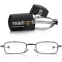 Read Optics Fold Up Pocket Glasses and Case. Mens & Womens Metal Frame petits verres pliants pour la lecture avec bras extensibles et Mini porte-lunettes (Gris, +2.5)