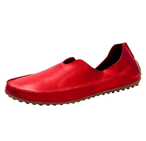 Dooxi Hommes Mode Respirant Mocassins Bateau Chaussure Décontractée Entreprise Plat Loafers Chaussures Rouge
