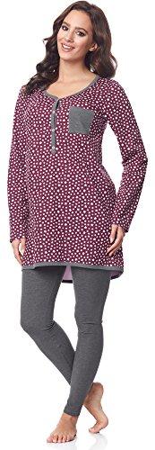 rm Pyjama mit Stillfunktion BE20-178, Burgund-Sterne-Grau, XXL (Grau Und Burgund)