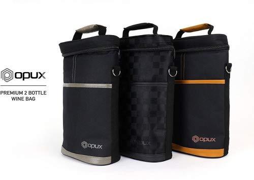 Premium isoliert 2Flasche Wein Tote Carrier von opux | Perfekte Wein Tasche für Reisen, extra Schutz, Elegant, praktisch, langlebig Wein Tragetasche | Korkenzieher enthalten Checkered Black -
