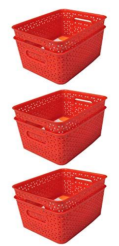 Xllent® Red Basket (Set of 6) for Multipurpose Use/Fruit & Vegetable Basket/Storage Basket/Makeup Organiser/Office Stationary Storage/Bins/Organiser/Container Box, Size in cm {26 + 20+ 11}