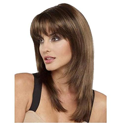 Malloom Braune Synthetische Haarperücke des Farbverlaufs Kurze Mischungsfarben volle Perücken Party Haarperücken