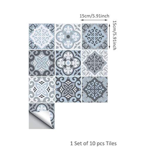 Funlife Mediterranean Blue Tile Wand-Aufkleber, Kleber Fliese Aufkleber for Küche Dekoration DIY Wasserdichtes Möbel Badezimmer-Dekor Wandsticker (Color : 15cm, Size : 100pieces)