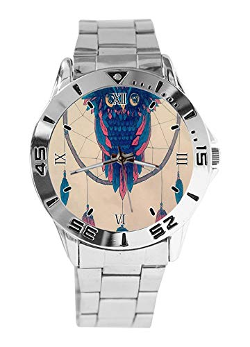 Reloj de Pulsera analógico de Acero Inoxidable con diseño de búho atrapasueños para Hombre, Esfera de Moda, Estilo Casual