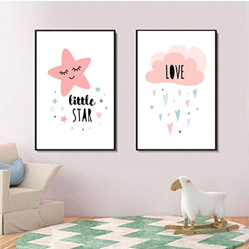XWArtpic Klassische Mond Traum Big Little Stars Süße Kindergarten Baba Room Decor Leinwand Malerei Poster Drucken Wandkunst POP Bilder Wohnkultur 60 * 100 cm