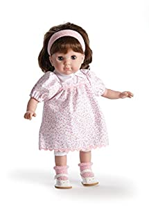 JC TOYS-Carla Brunette Toddler, 14-Inch Soft Body Doll Dressed in Pretty Pink Flower Dress. Open and Close Eyes. Designed by BERENGUER for Children 3+, Color (30000)