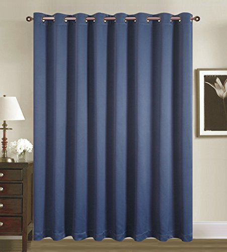 Tc Panel (Fenster Rose Verdunklungsvorhänge Drapes für Schlafzimmer/Wohnzimmer-2Panel Set, Polyester, navy, W100xL84)