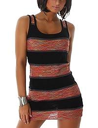 ec64b11cb21 Voyelles Damen Strickkleid Long-Top Sommerkleid Party Club Strand im  Streifen-Look mit Leuchtenden