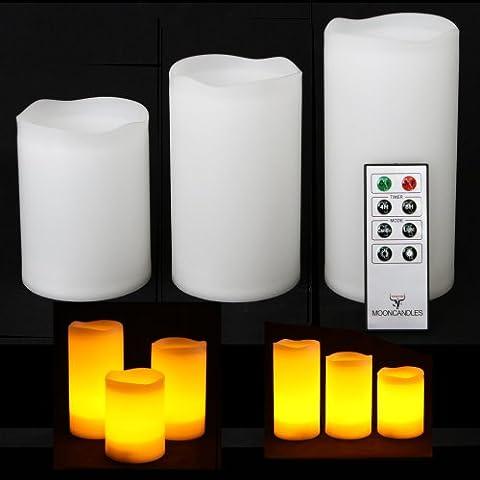 Frostfire Mooncandles - Set de 3 velas impermeables para uso en exterior e interior con mando a distancia y