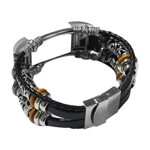 Altsommer 20mm Doppelt-Gewickelt geflochtenes Lederarmband mit Magnetverschluss für Fitbit Charge 2 Leder Neue Mode Schmuck Armschmuck mit Titan Perlen Silber Titan Schließe (Schwarz)