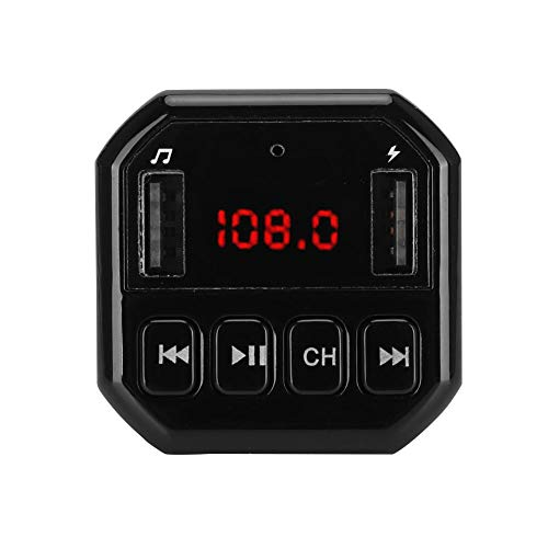 Oumij Bluetooth Wireless im Auto FM Radio Adapter, Auto Bluetooth Wireless MP3 HD Player FM Transmitter Modulator mit Eigenem Ladegerät(schwarz)