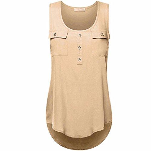 Honestyi Damen Blusen, Damen Einfarbig Beiläufig T-Shirt O-Ausschnitt Ärmellos Weste Lose Panzer Oberteile Gemütlich Classic Tops Große Größe S-XXXXXL (S, Khaki) (Damen Khaki Kleidung Weste :)