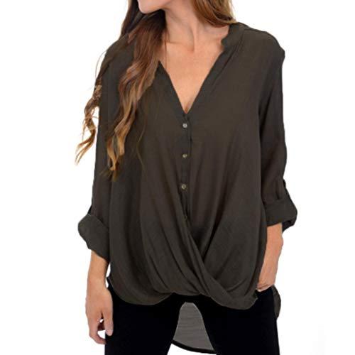 iHENGH Damen Tops, Women Fashion Solid Color Button Tops Lange ÄRmel Saum UnregelmäßIge Bluse