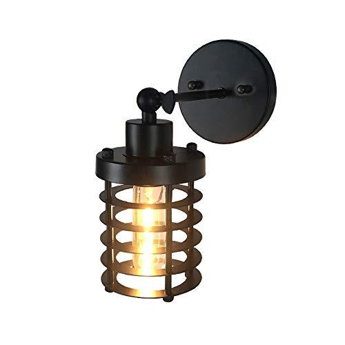 Msoteey Kleiner Eisenkäfig LED kreativ Mounted Bedside-Leuchter-Lampe Antike Einzel-Kopf-Wohnzimmer-Wand Lampe Licht Vintage Mode Land Industrieller Wind Schmiedeeisen Retro Wandleuchte -