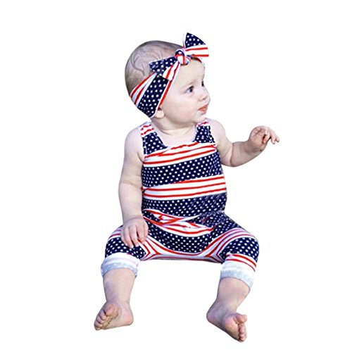 JYJMBaby Sleeveless Stripe Flying Sleeve Romper Bodysuit + Hairband Two Piece Set sommer Brief Print Playsuits Toddler Kurzarm Outfits (120, Rot) - Short Sleeve Romper
