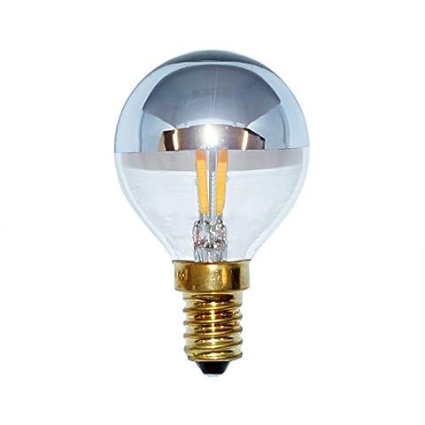 LED Filament Tropfen 4W = 40W E14 Kopfspiegel Silber Glühfaden warmweiß 2200K