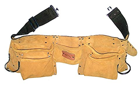 Prima Tools LPS11DM Top Grade Suede Leather Double Nail Tool Pouch with 11 Pockets - Yellow