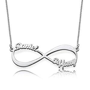 Infinity Namenskette 925 Sterling Silber mit zwei/drei/vier Wunschname, Individuelle Unendlichkeit Halskette Silber/Rosegold/Gold mit Namen