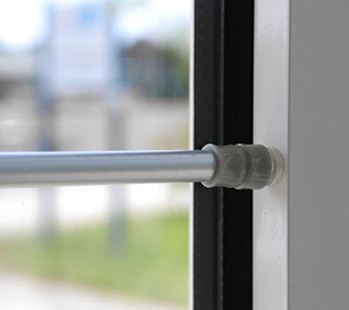 Klemmstange für Fenster Gardine Länge wählbar bis 120 cm, ausdrehbar mit Saugknopf (Silber 60-90 cm)